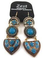 SWAROVSKI GOLD EARRINGS BLUE CRYSTAL AND MOONSTONE HEART FLOWER DESIGN BY ZEST
