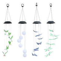 Color-Changing LED Solar Powered Hummingbird Wind Chime Lights Yard/Garden Decor