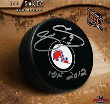 Joe Sakic signed Quebec Nordiques Puck with HOF 2012 Inscription