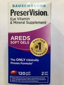 Bausch+Lomb PreserVision Areds Eye Vitamin 120 Softgels  JULY 2021  #2300 purple