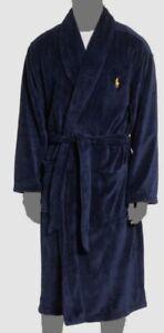 $130 Polo Ralph Lauren Men Blue Sleep Pajama Pony Logo PJ Shawl-Collar Robe O/S