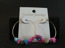 Empowering Jewelry Multi Color Jasper Chips Hoop Earrings Gold Tone Alloy Indie