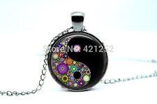 Cúpula de vidrio cabujón con colgante cadena Collar Gótico/Steampunk: Yin-Yang Flores