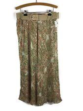22145aa1a Roz & Ali Skirt Woman Plus 1X Chiffon Paisley Green Peach Belt Career Long  Maxi