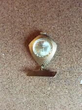 Ingersoll Fob Watch Necklace Gold Metal 7 Jewels Hand-Wind Retro Vintage