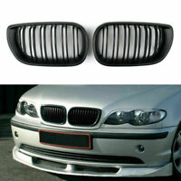 Matte Black Frontal Riñón Parrillas Double Rib Para BMW E46 3 Series 4Dr 2002-05