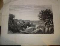 NYON (XIX) GRAVURE ORIGINALE APREMONT FONTAINEBLEAU BARBIZON DENECOURT 1860