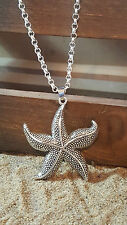 "NEW - Large STARFISH Antique Silver Pendant & Necklace Chain 20"" ,Premium"