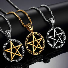 Women Men Stainless Steel Magic Pentacle Star Pendant Necklace Chain Gold Silver