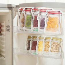 10Pcs Reusable Mason Jar Bottles Bags Food Snack Zipper Bags Seal Food Container