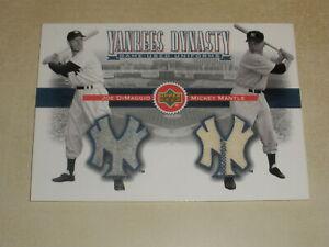 2001 Upper Deck Yankees Dynasty Game Used Jersey Joe DiMaggio Mickey Mantle