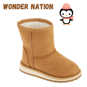 NEW GIRLS WONDER NATION FAUX SHEARLING LINED SLIP ON BROWN WINTER BOOTS Size 7