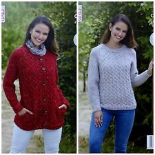 KNITTING PATTERN Ladies Cable Jumper & Jacket with Pockets Aran King Cole 5298