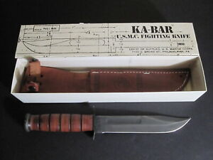 USMC KA-BAR 1217 US Marines Fighting Knife with Leather Sheath in Box 1980s USA