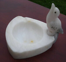 Vintage Made In Italy Alabaster Carved Bird Ashtray,