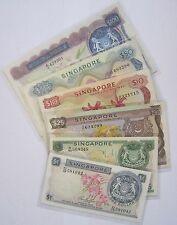 Rare Set of 6 SINGAPORE Orchid Series A1 Old Bank Notes $1 to $100 Legal Tender