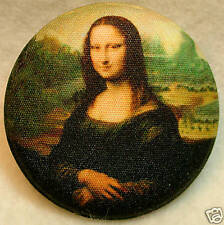 Mona Lisa  Fabric Covered Button 1 & 1/2 inch FREE US SHIPPING