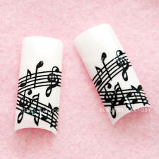 70pcs Airbrushed French False Nail Tips with Glue - Music Note E397Nails