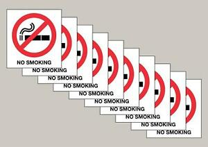 10 Screen Printed No Smoking window stickers double sided Free P&P