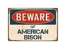 "Beware Of American Bison 8"" x 12"" Vintage Aluminum Retro Metal Sign VS012"