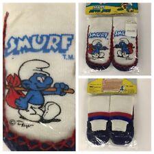 Vintage NOS Deadstock 1980s Novelty Cartoon Kids Smurf Slipper Socks Ages 4/5