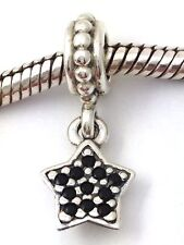 Authentic Pandora Sterling Silver Pave Star Black Crystal Charm 791023nck New