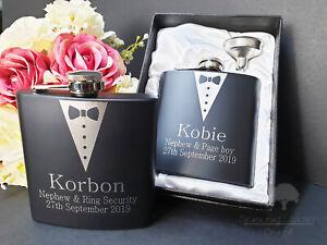 Personalised Engraved 6oz black Hip Flask.Best Man wedding Usher Box bhf6