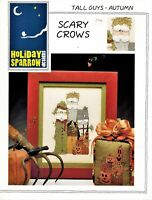 ✔️ Cross Stitch Holiday Sparrow TALL GUYS - SCARY CROWS Autumn Chart Leaflet
