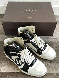 Gucci GG White/Black Patent Sneakers Mid HighTop Sz 8G (9.5US) 295382 LIMITED ED