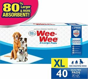 """Wee-Wee Puppy Training Pee Pads 40-Count 28"""" x 34"""" X-Large Size Pads for Dogs"""