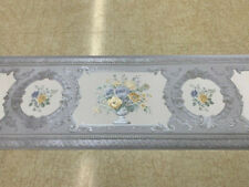 Victorian Silk Blue And Yellow Floral Wallpaper Border