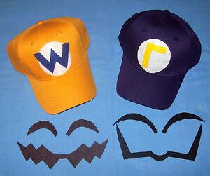 Super Mario WARIO & WALUIGI Costume Face Pieces & Hats w/ Letters & Emblems