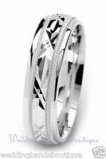 18k White Gold Milgrain Wedding Ring Carved Star Pattern Mans Men's Men Band 6mm