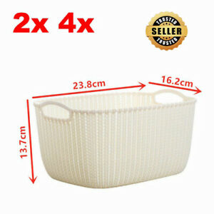 2 4 Plastic Wicker Storage Baskets with Handles for Bathroom Studio White Small