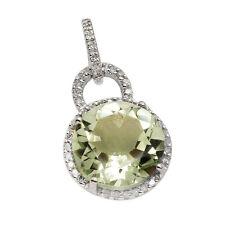 14K WHITE GOLD PAVE DIAMOND GREEN AMETHYST HALO ROUND DANGLE PENDANT NECKLACE