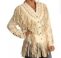 Native American Western Women's Cow Leather Jacket with Fringe and bone 1010