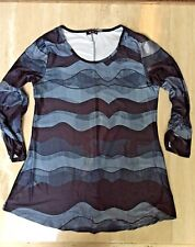 New w tags, women's Lily by Firmiana long sleeve tunic, blue pattern, size 1X