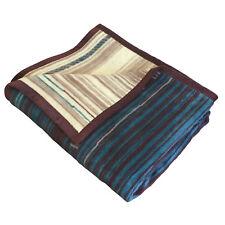 IBENA Reversible Saddle Blanket Stripe Jacquard Woven Cotton Blend Throw Blanket