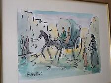 Emmanuel BELLINI (1904-1989) -Tableau /aquarelle - Cannes -Calèche