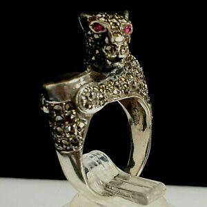 Vintage Sterling 925 Silver Marcasite & Onyx Red eyes Panther / Tiger Ring AF N