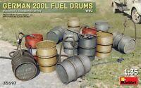 Miniart 35597 - 1/35 German 200l fuel drums ww2, plastik model kit