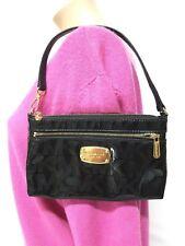 MICHAEL KORS JET SET MK SIGNATURE SMALL BLACK PVC WRISTLET PURSE CLUTCH BAG