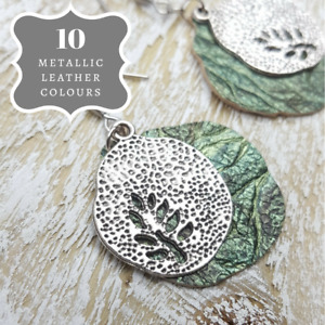 Round Drop Handmade Earrings Green Leather Tree Themed Unique Woman Jewellery