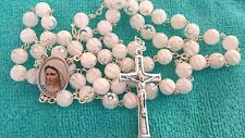 Catholic Rosary Murano Crystal Glass White  Rosaries From Medjugorje + GIFT BAG