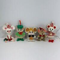 Vintage Flocked Felt Christmas Ornaments Mice Mouse Lot of 5 Tree Decoration