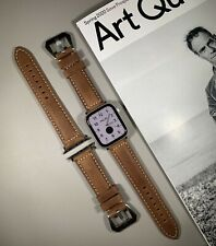 Brown Genuine Leather Strap For Apple Watch 42mm / 44mm Series 1,2,3,4,5,6 & SE
