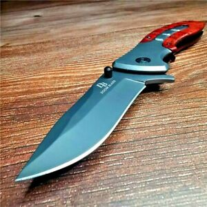 Drop Point Folding Knife Pocket Hunting Survival Tactical High Carbon Steel Wood