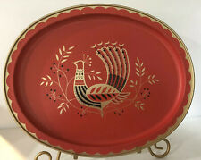 Vintage Fabcraft Red Gold Metal Peacock Tray Mid Century Design Frenchtown, NJ