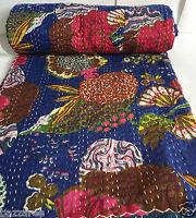 Indian Handmade Kantha Quilt Throw Reversible Bedspread Blue Ethnic Vintage New