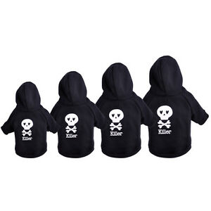 Soft Skull Pet Small Dog Hoodie Clothes Coat Outwear Apparel Warm Puppy Cat